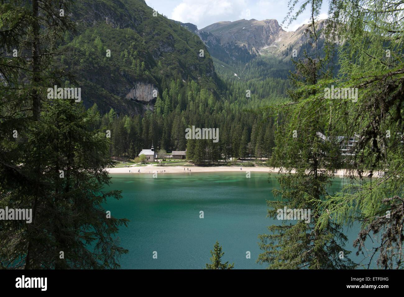 Pragser Wildsee, Lago di Braies, Puster Valley, South Tyrol, Italy Stock Photo
