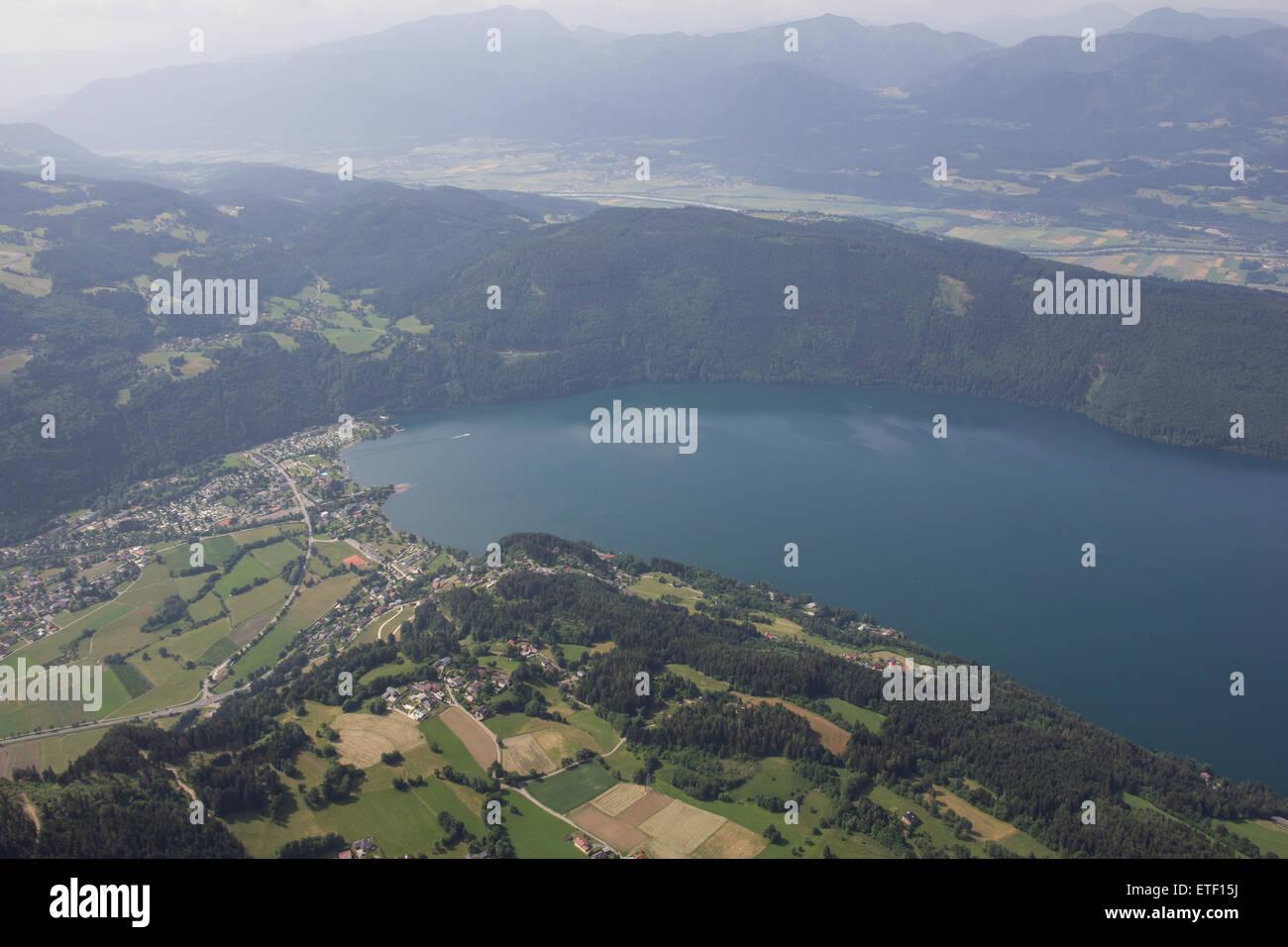 Flightseeing Tour Carinthia Lake Millstatt Bird's Eye View - Stock Image