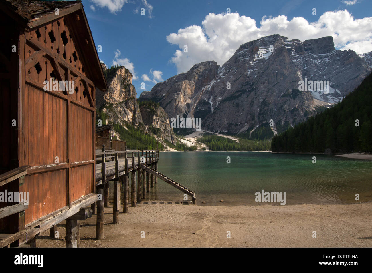 Pragser Wildsee, Lago di Braies, Puster Valley, South Tyrol, Italy Stock Photo