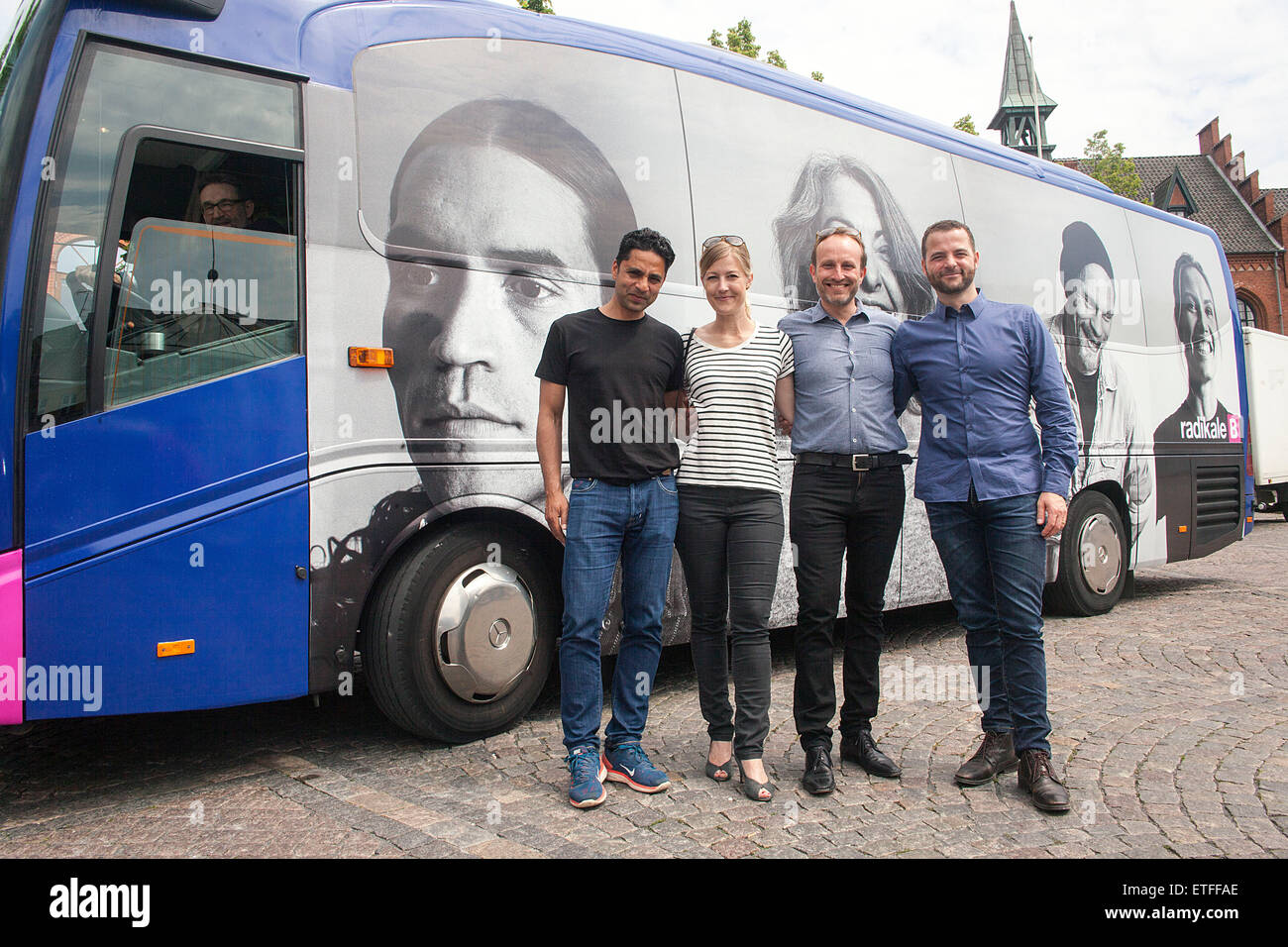 Hilleroed, Denmark, June 13th, 2015: The Danish Radikal Venstre (read: The Social Liberal) leadership poses in front - Stock Image