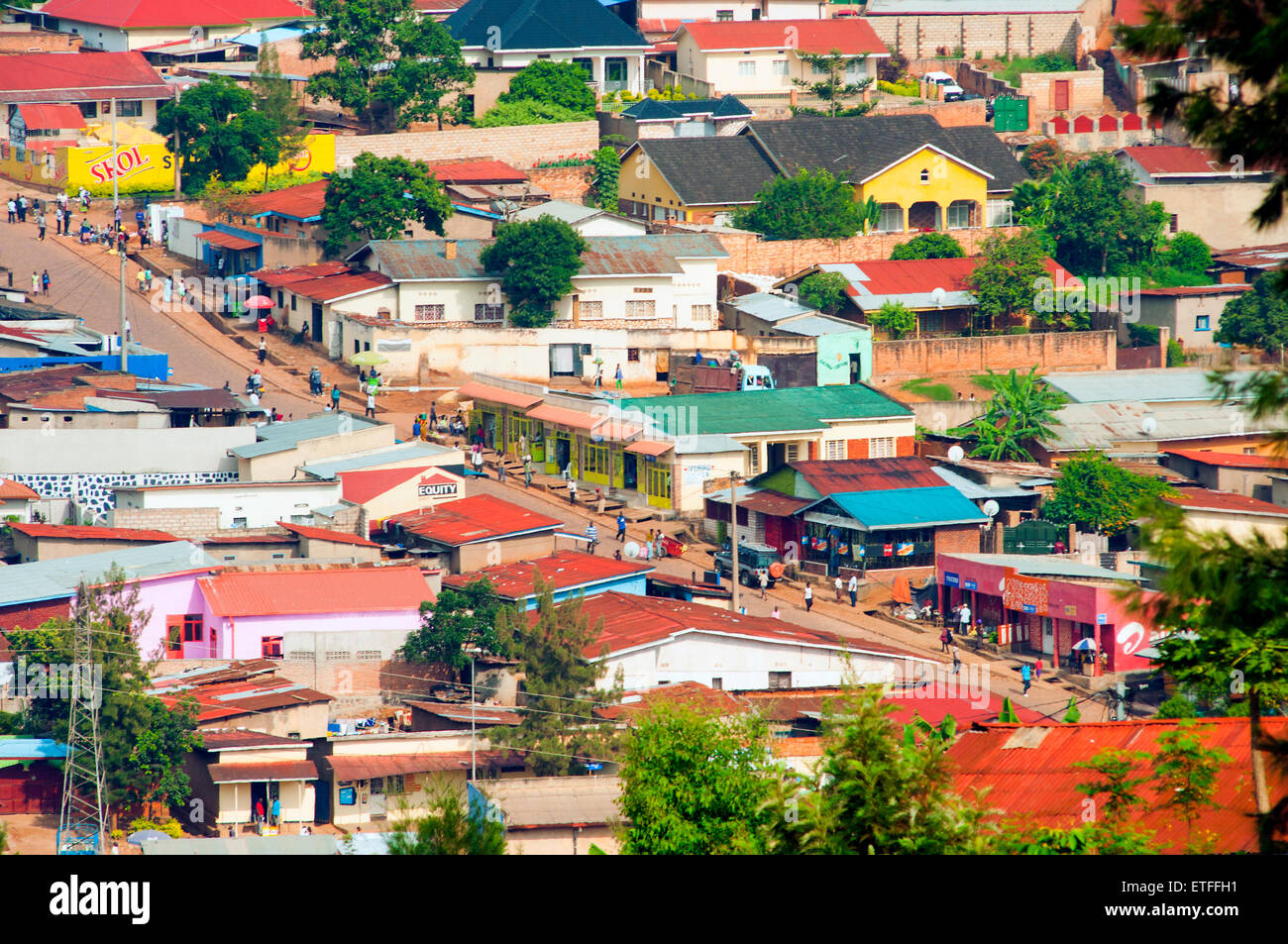 aerial view of streets and houses looking west from Nyamirambo, Kigali, Rwanda - Stock Image