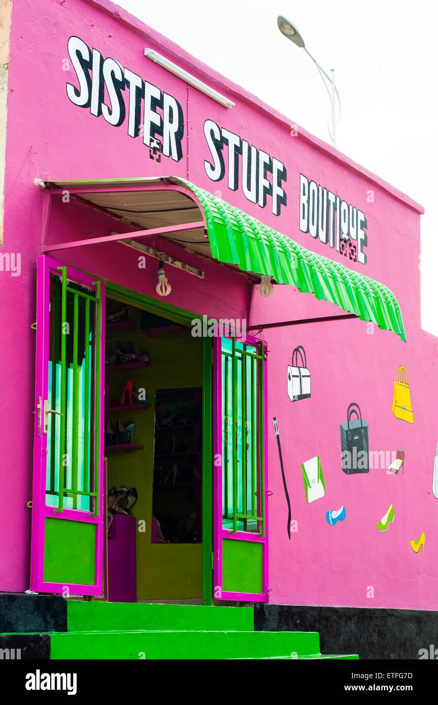 Colorful boutique, Nyamirambo, Kigali, Rwanda - Stock Image