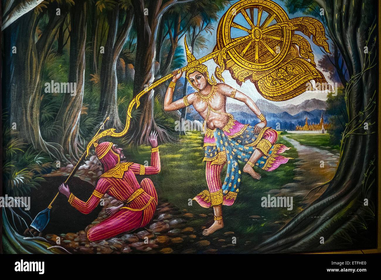 Asia. Thailand, Chiang Mai. Temple Wat Chiang Mun. Paintings illustrating the life of Buddha. - Stock Image