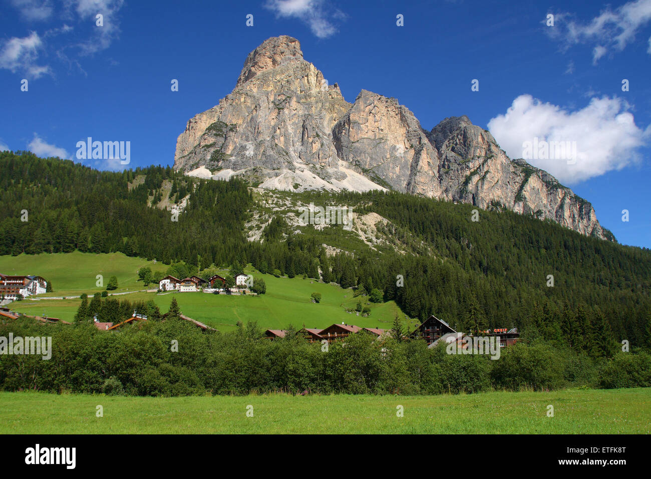Mount Sassongher from the village of Corvara in Badia, Dolomites, Italy. Stock Photo