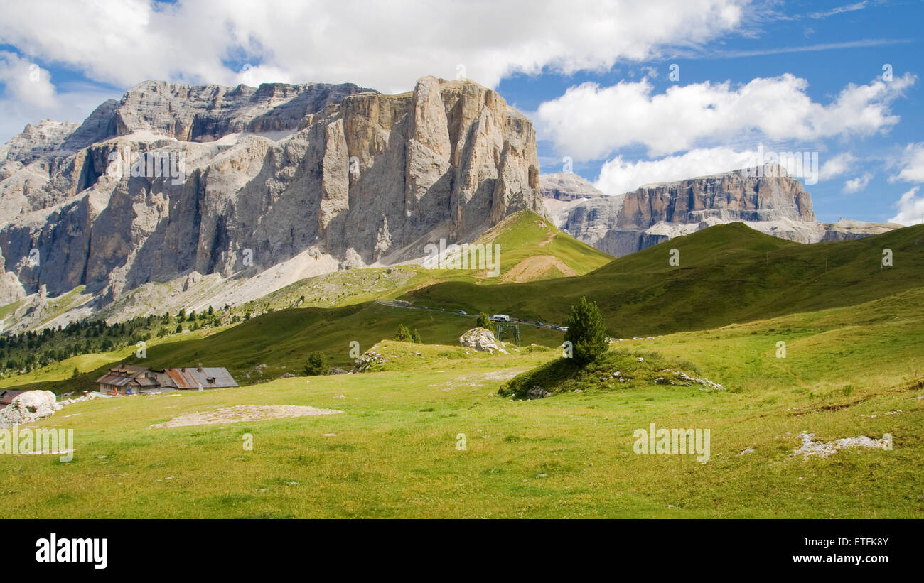 The Sella group seen from Sella Pass, Dolomites, Italy. - Stock Image