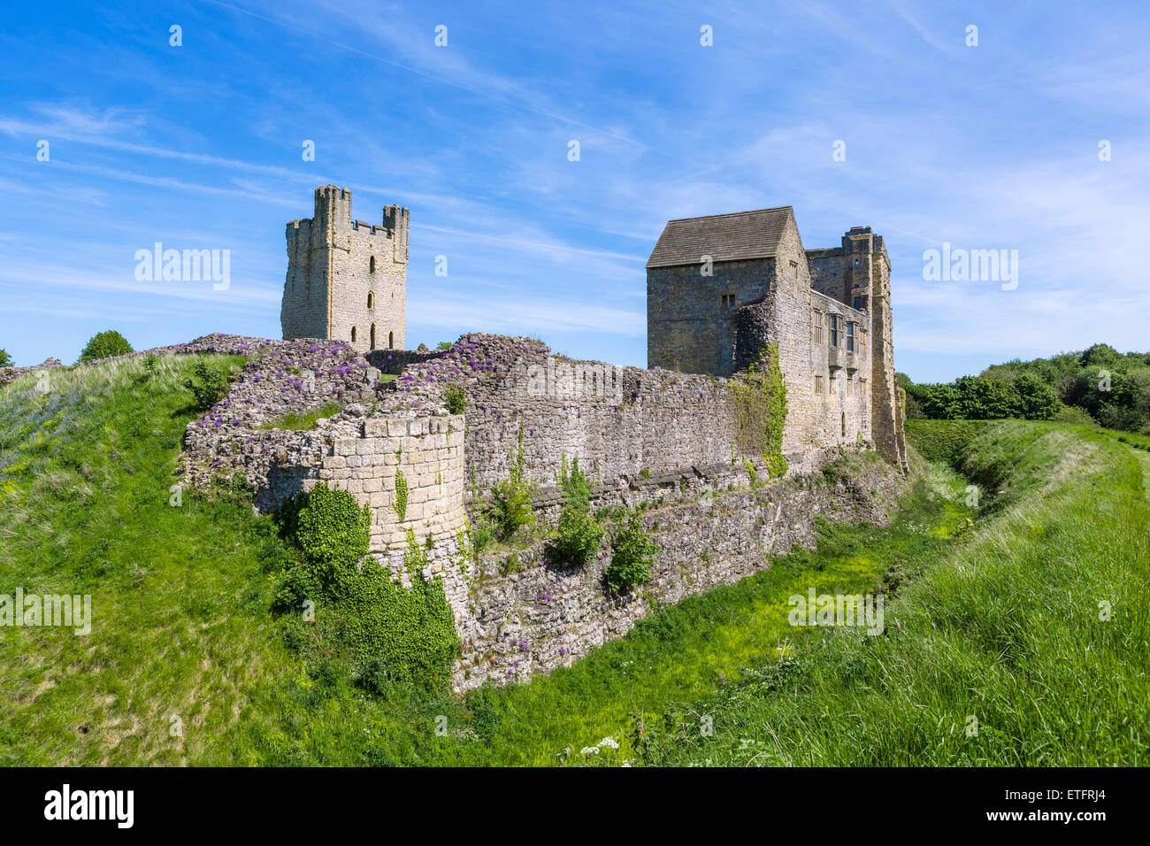The ruins of medieval Helmsley Castle, Helmsley, North Yorkshire, England, UK - Stock Image