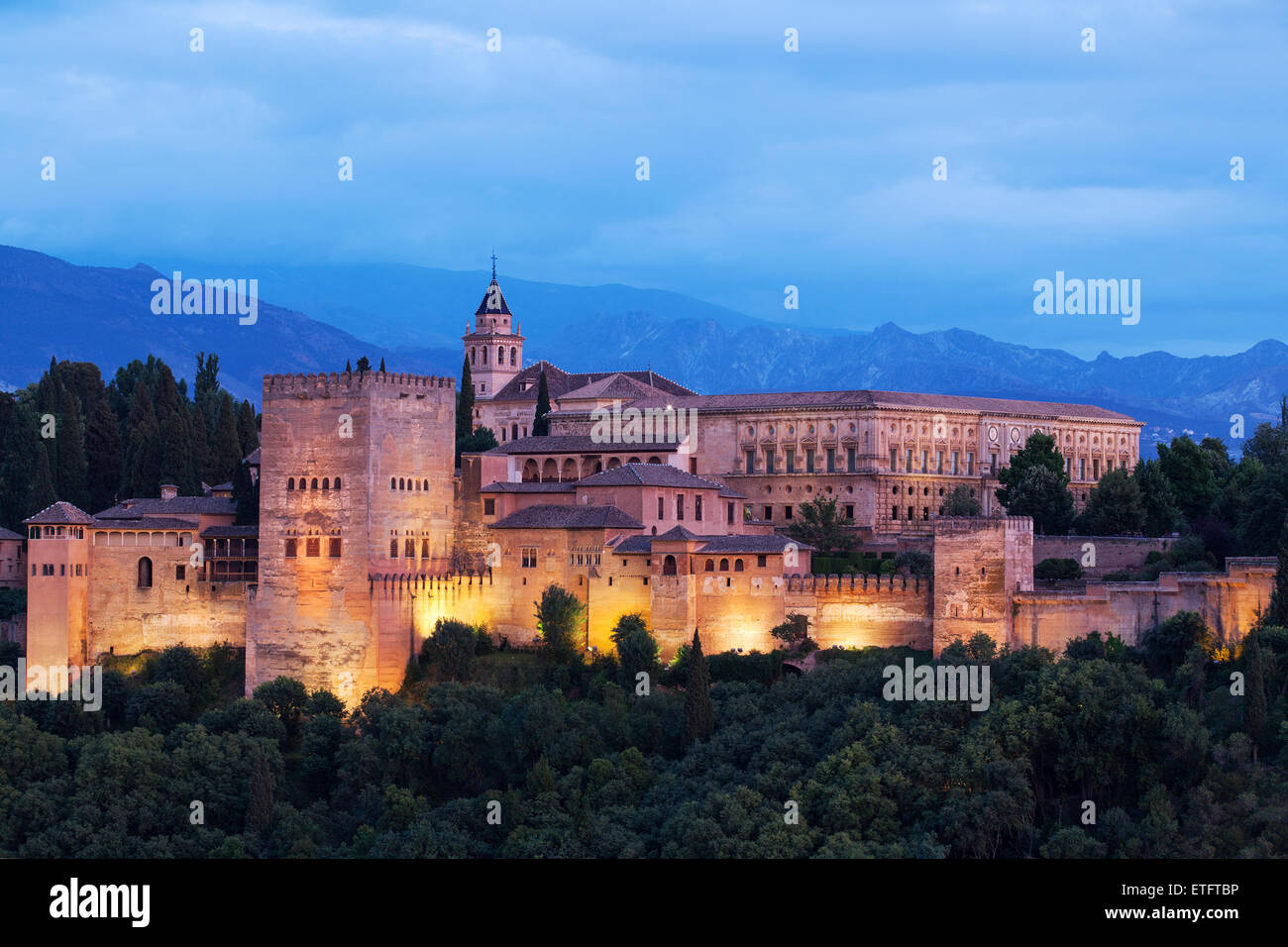 The Alhambra, Granada Moorish palace Andalucia, Spain - Stock Image
