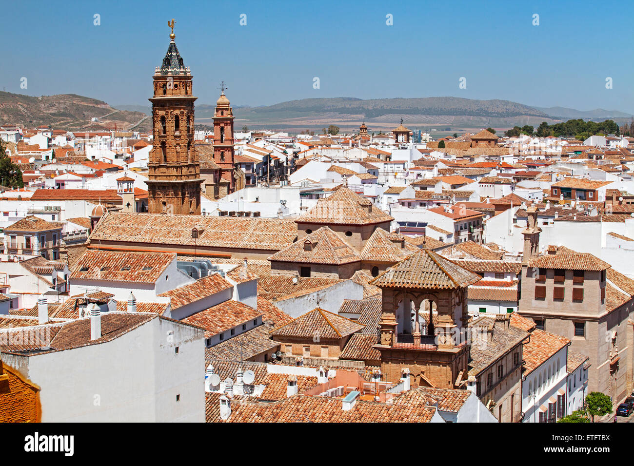 Antequera, Andalucia - A view over the town showing San Sebastian church bell tower - Spain - Stock Image