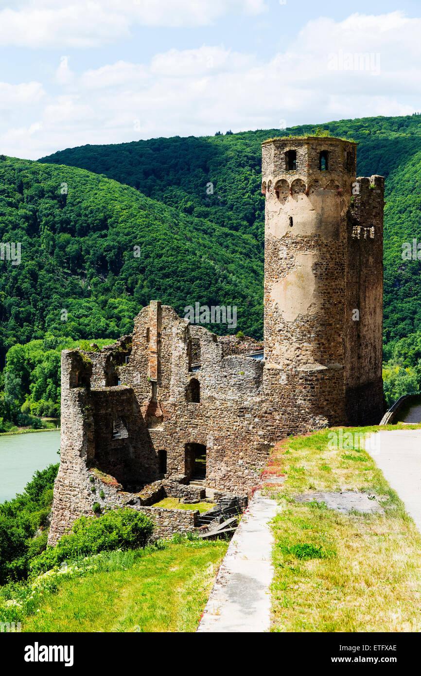 Ruined Castle Ehrenfels Rudesheim Hesse Germany Europe - Stock Image