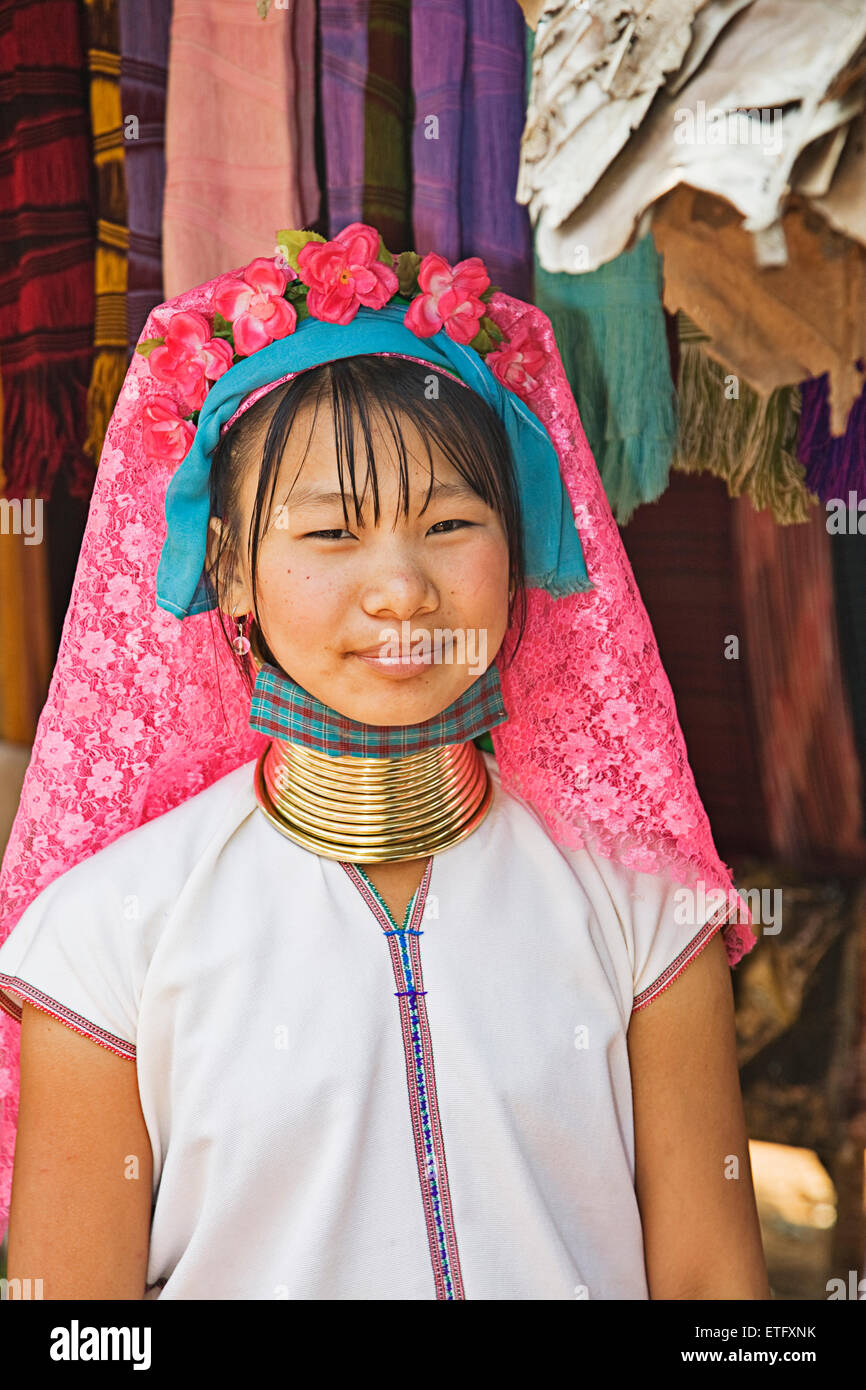 A long neck woman at the Hill Tribes settlement near Chiang Rai. - Stock Image