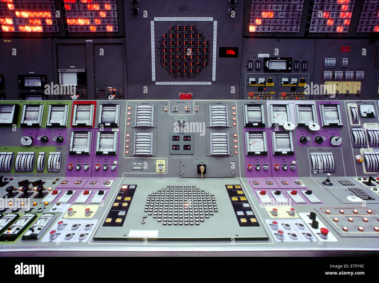 Computerized control room of a nuclear power plant - Stock Image