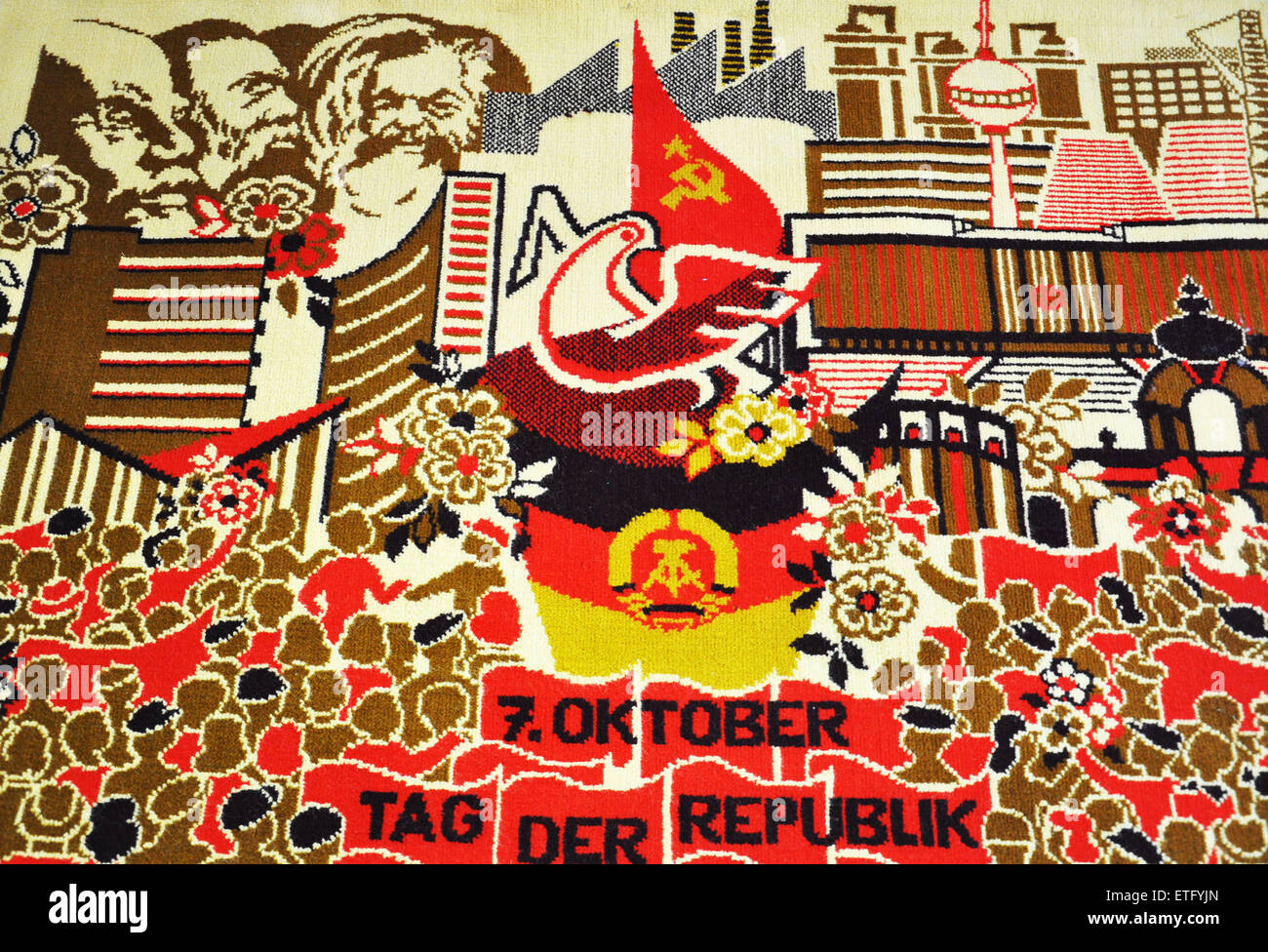 Carpet commemorating the formation of the DDR on October 7 1949 in the Stasi Museum, Lichtenberg, Berlin, Germany Stock Photo