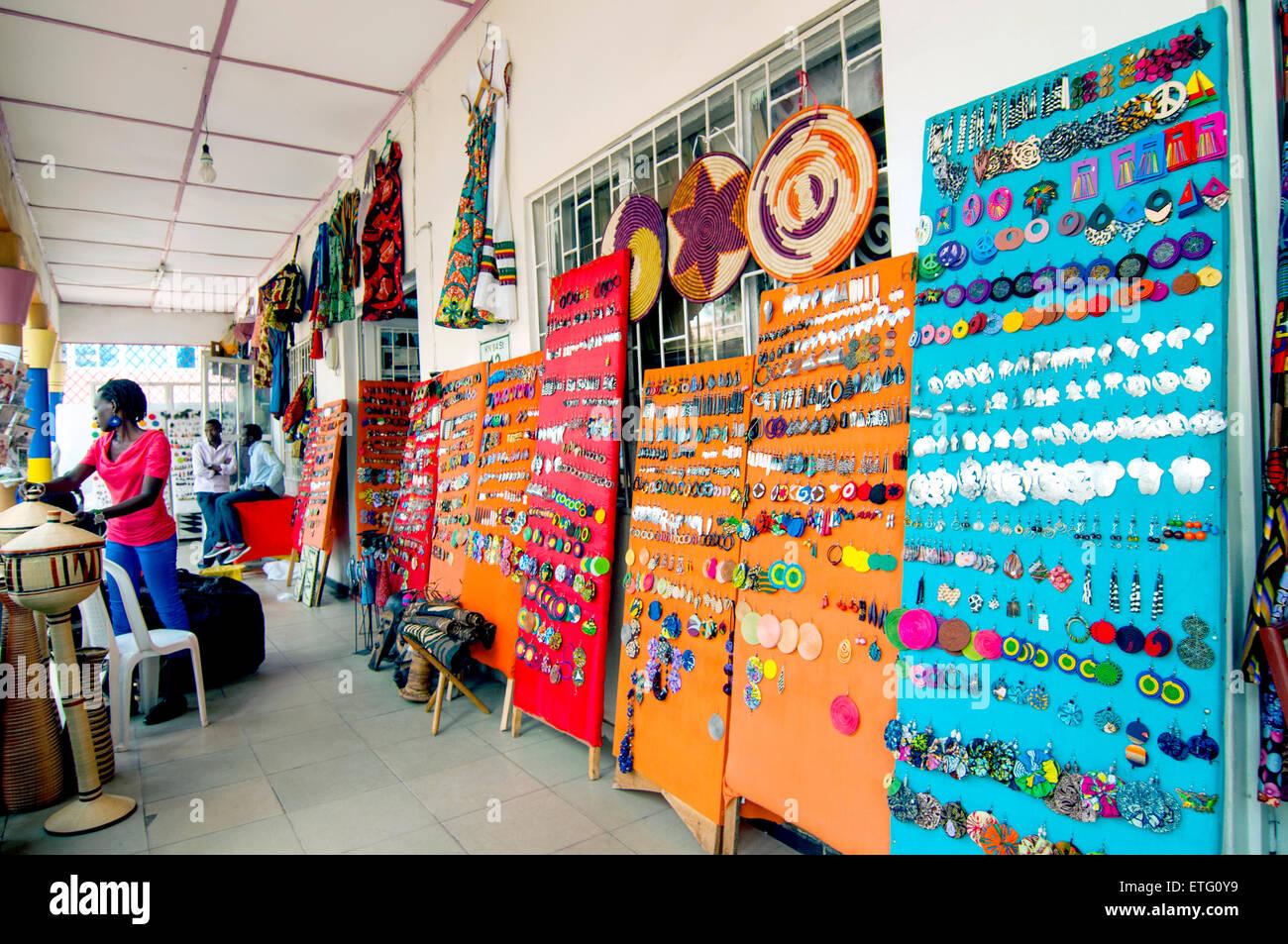 "handicraft stores, ""Central Ville"", CBD, Kigali, Rwanda Stock Photo"