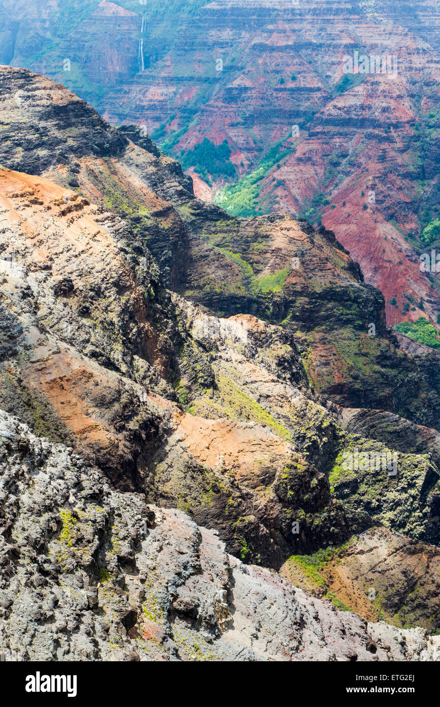 View from Canyon Lookout, Waimea Canyon State Park, Kauai, Hawaii, USA - Stock Image