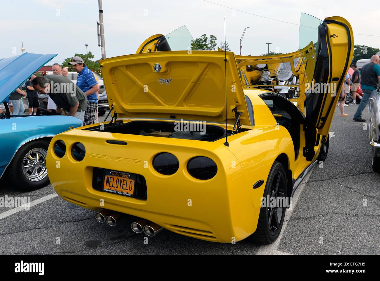 New York USA. 12th June 2015. A modified yellow 2003 Corvette 50th Anniversary & Lambo Door Stock Photos \u0026 Lambo Door Stock Images - Alamy