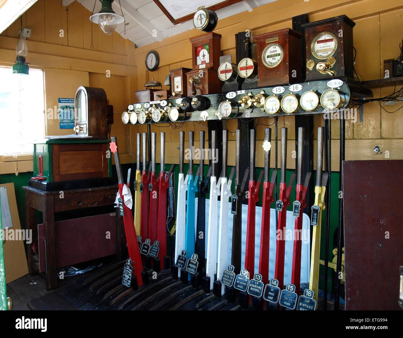 Levers inside original signal box, Washford Station, part of the West Somerset heritage railway, Somerset, UK - Stock Image