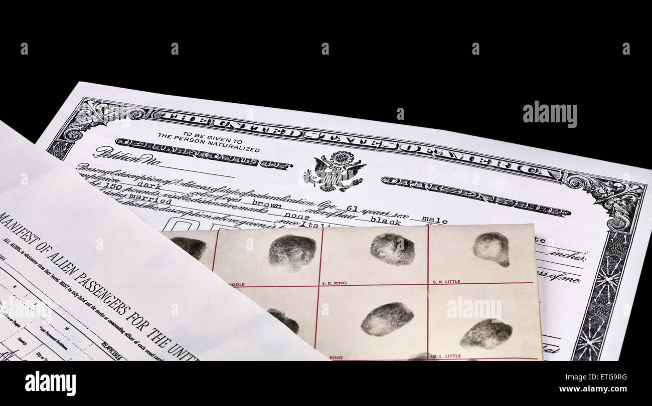 Certificate of US Citizenship, fingerprint card, Declaration of Intention and Passenger Manifest documents isolated - Stock Image