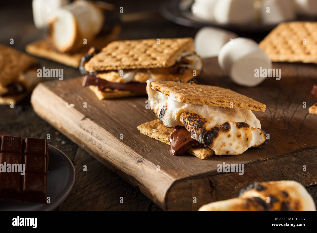 Homemade Gooey S'mores with Chocolate and Marshmallows - Stock Image