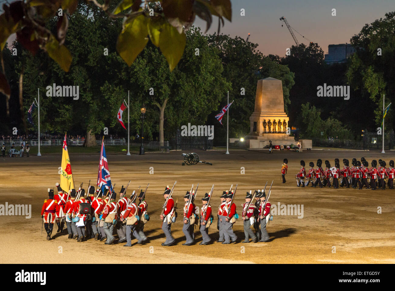 Beating the Retreat parade on Horseguards Parade - Stock Image