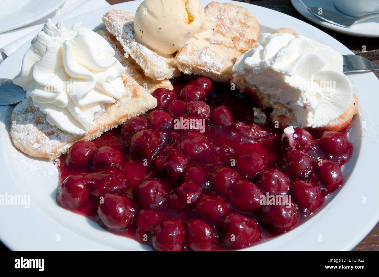 Dessert Waffle with hot cherries,vanilla ice cube and cream in a Cafe Germany Europe - Stock Image