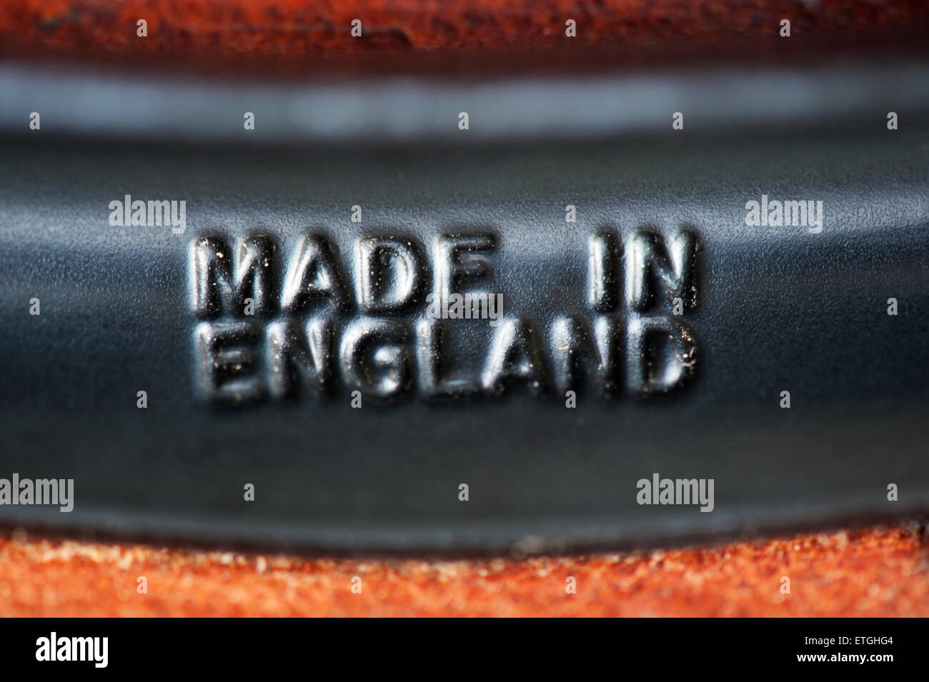 Made in England sign on a Brooks leather saddle for bicycle - Stock Image