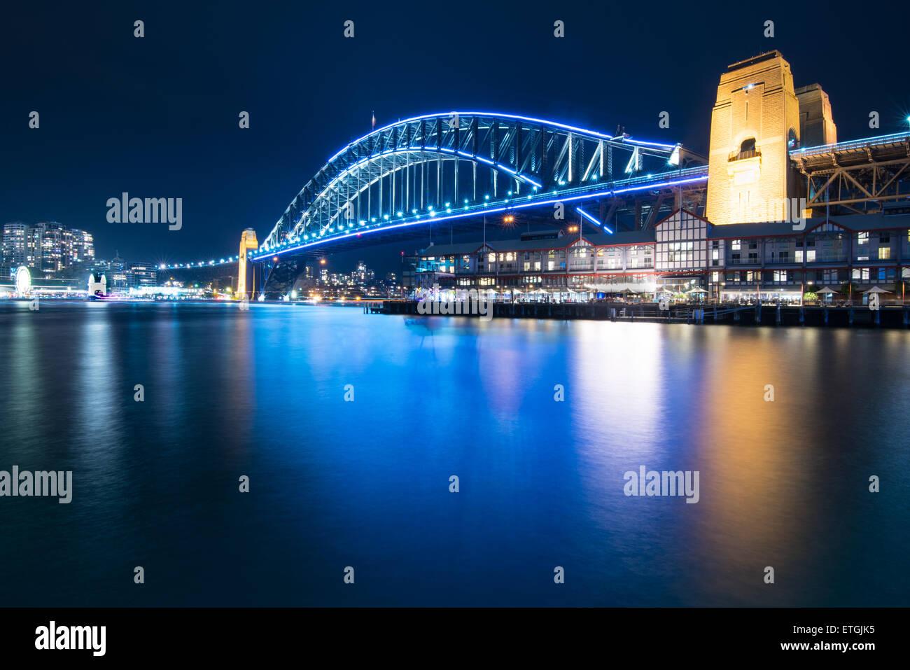 Sydney Harbour Bridge during Vivid Sydney 2015, taken from Walsh Bay - Stock Image