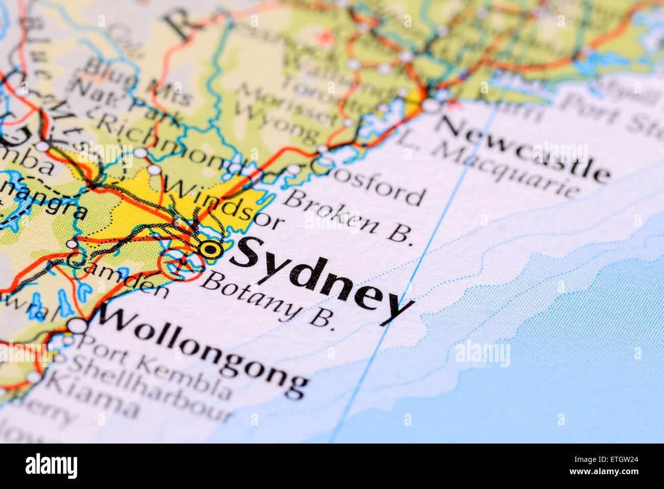 Atlas map showing australian city of sydney in new south wales stock atlas map showing australian city of sydney in new south wales gumiabroncs Gallery