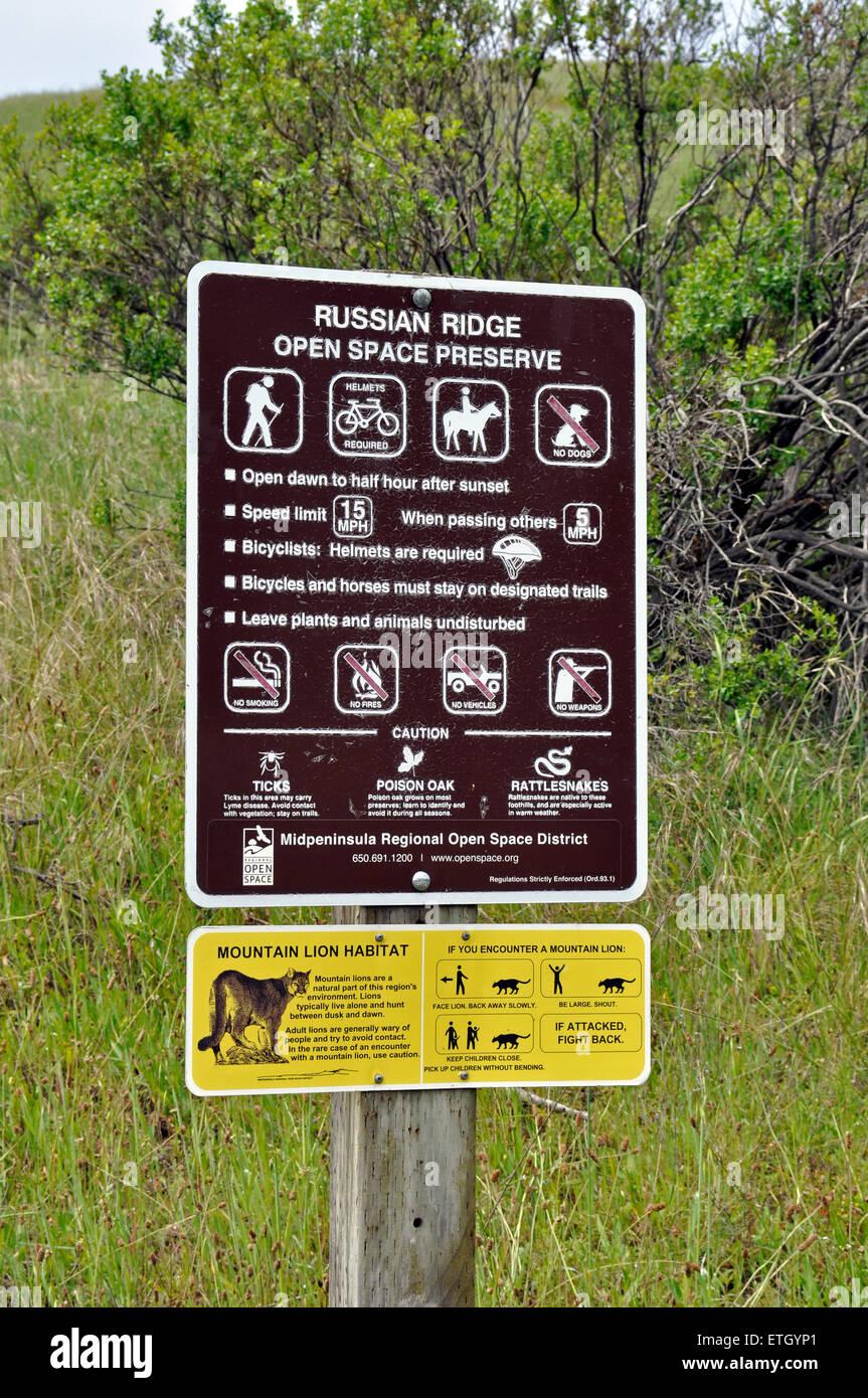 Russian Ridge Open Space Preserve sign, California - Stock Image