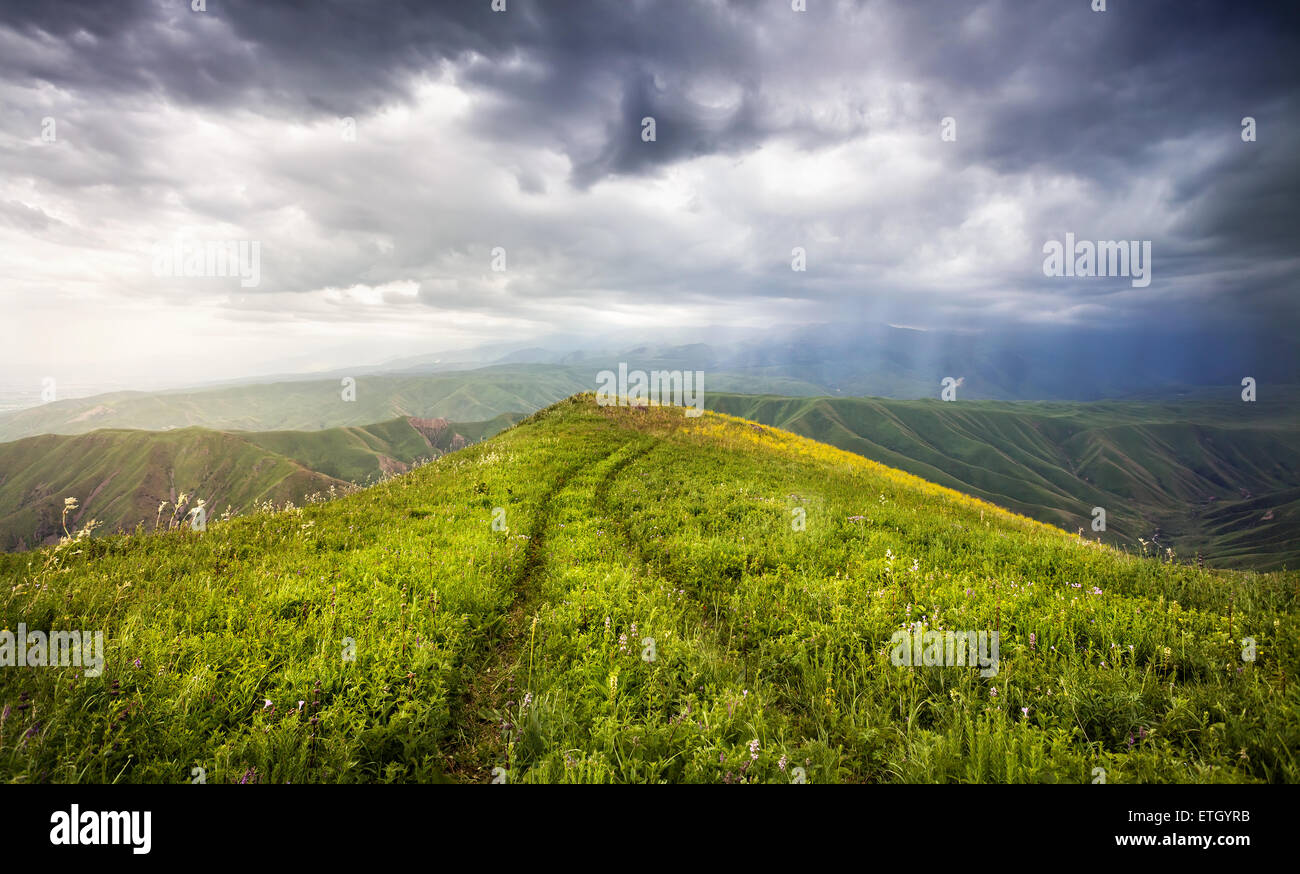 Grass Field with auto track and mountains at dramatic overcast sky in Ushkonyr near Chemolgan, Kazakhstan, central - Stock Image