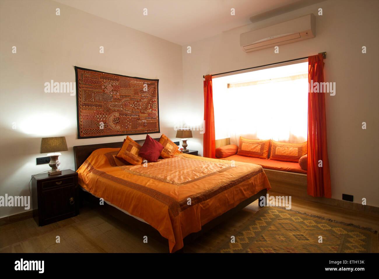 Bedroom. Hotel Jasmine Haveli, Jodhpur, Rajasthan, India - Stock Image