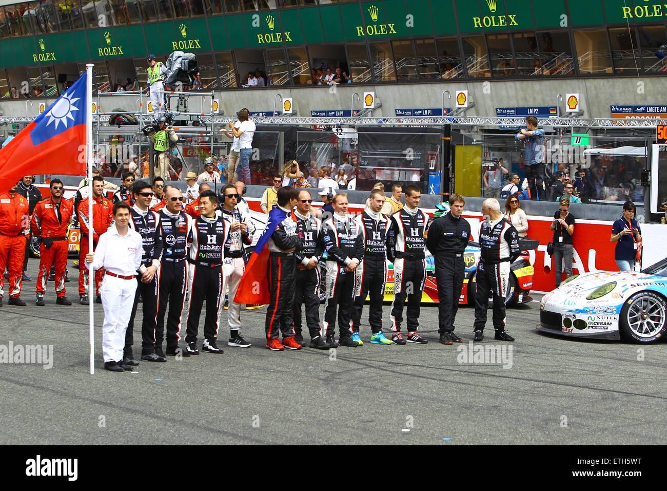 13.06.2015. le Mans, France. World Endurance Championships. Le Mans 24 Hour race. #68 TEAM AAI (TWN) PORSCHE 911 - Stock Image