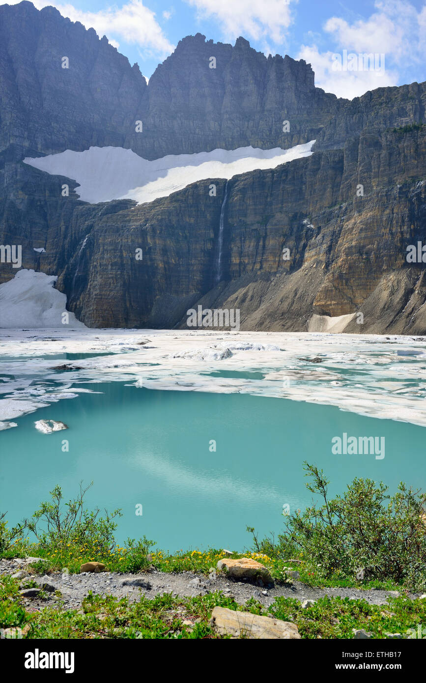 Grinnell glacier in Many Glaciers, Glacier National Park, Montana in summer - Stock Image