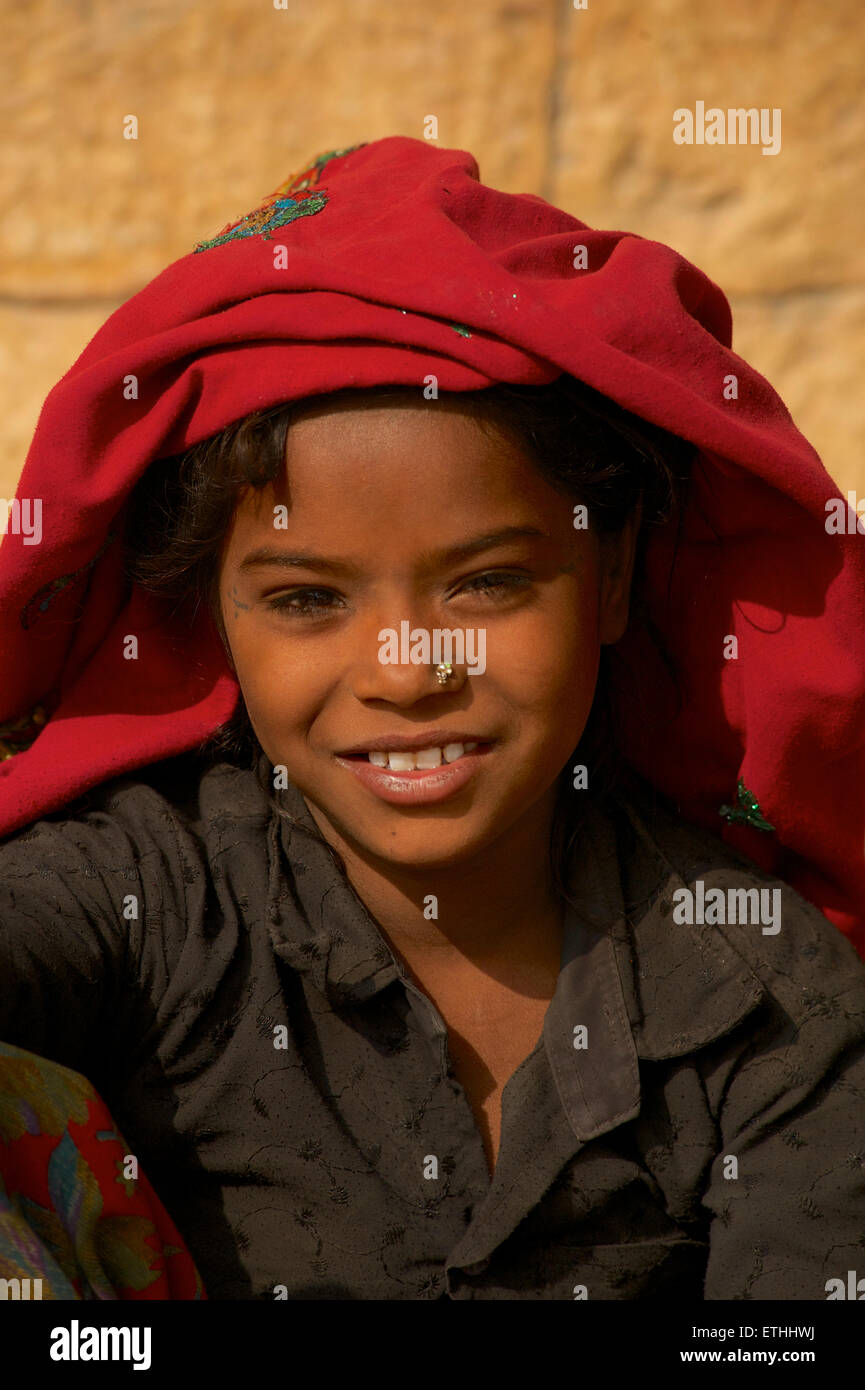 Portrait of a Rajasthani girl, Jaisalmer Rajasthan, India Stock Photo