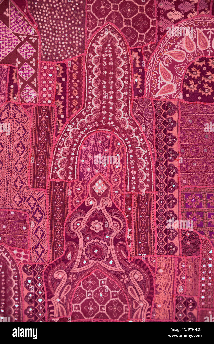 Detail of Rajasthani textile, Jaisalmer, Rajasthan, India - Stock Image