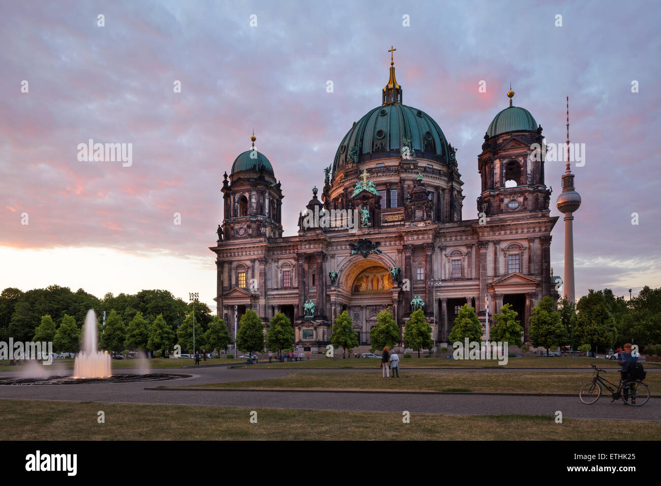 Berlin Cathedral with Television Tower and Lustgarten, Germany - Stock Image