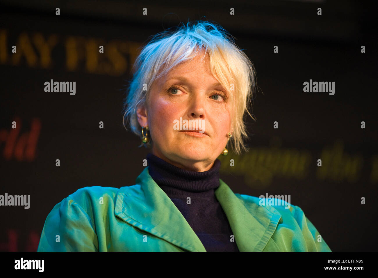Miranda Richardson actress reading on stage during The Josephine Hart Poetry Hour at Hay Festival 2015 - Stock Image