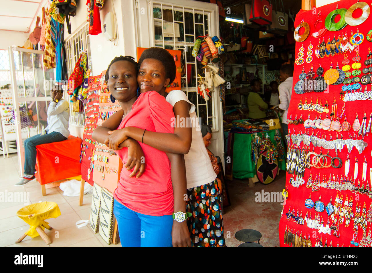 handicraft store with shop assistants, 'Central Ville', CBD, Kigali, Rwanda - Stock Image