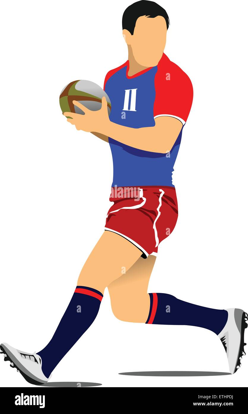 Rugby Player Silhouette. Vector illustration - Stock Vector