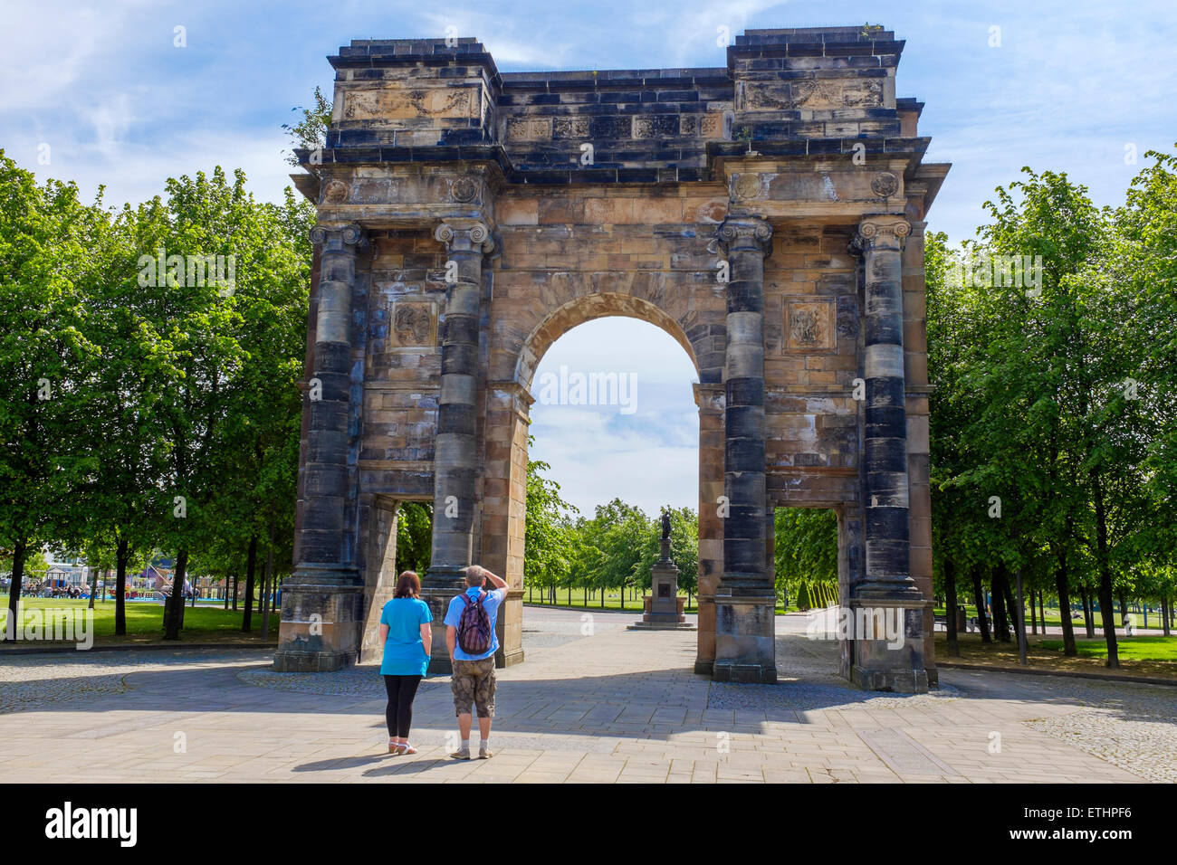 McLennan Arch designed by Robert Adam in 18th century, originally part of a mansion house, rebuilt on Glasgow Green - Stock Image