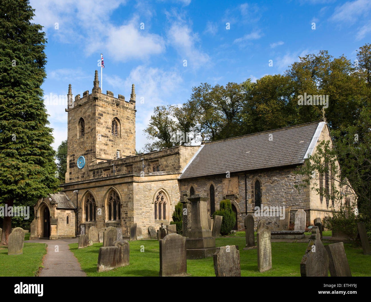 UK, England, Derbyshire, Eyam, Parich Church of St Lawrence - Stock Image