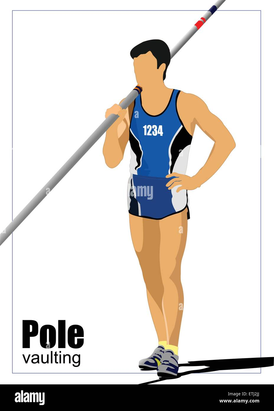 Athlete pole vaulting. Track and field. Vector illustration. Stock Vector