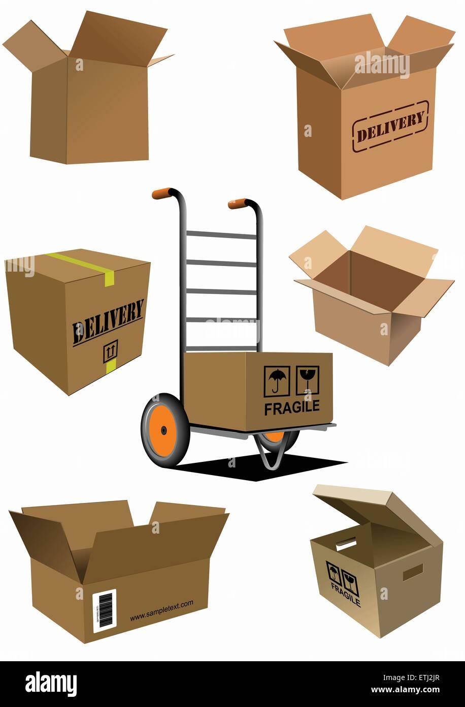 Carton boxes collection. Vector illustration - Stock Vector