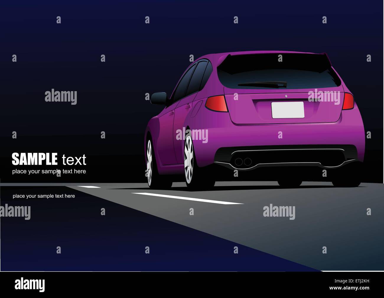 Rear side of purple car sedan on the road. Vector illustration - Stock Vector