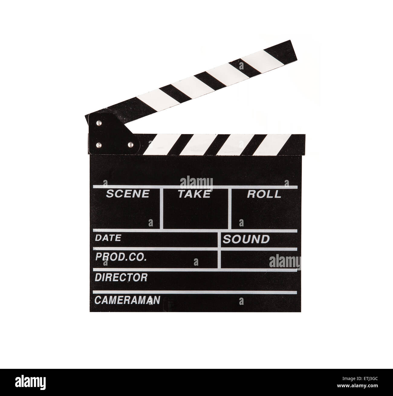 Film clapper isolated on white background - Stock Image
