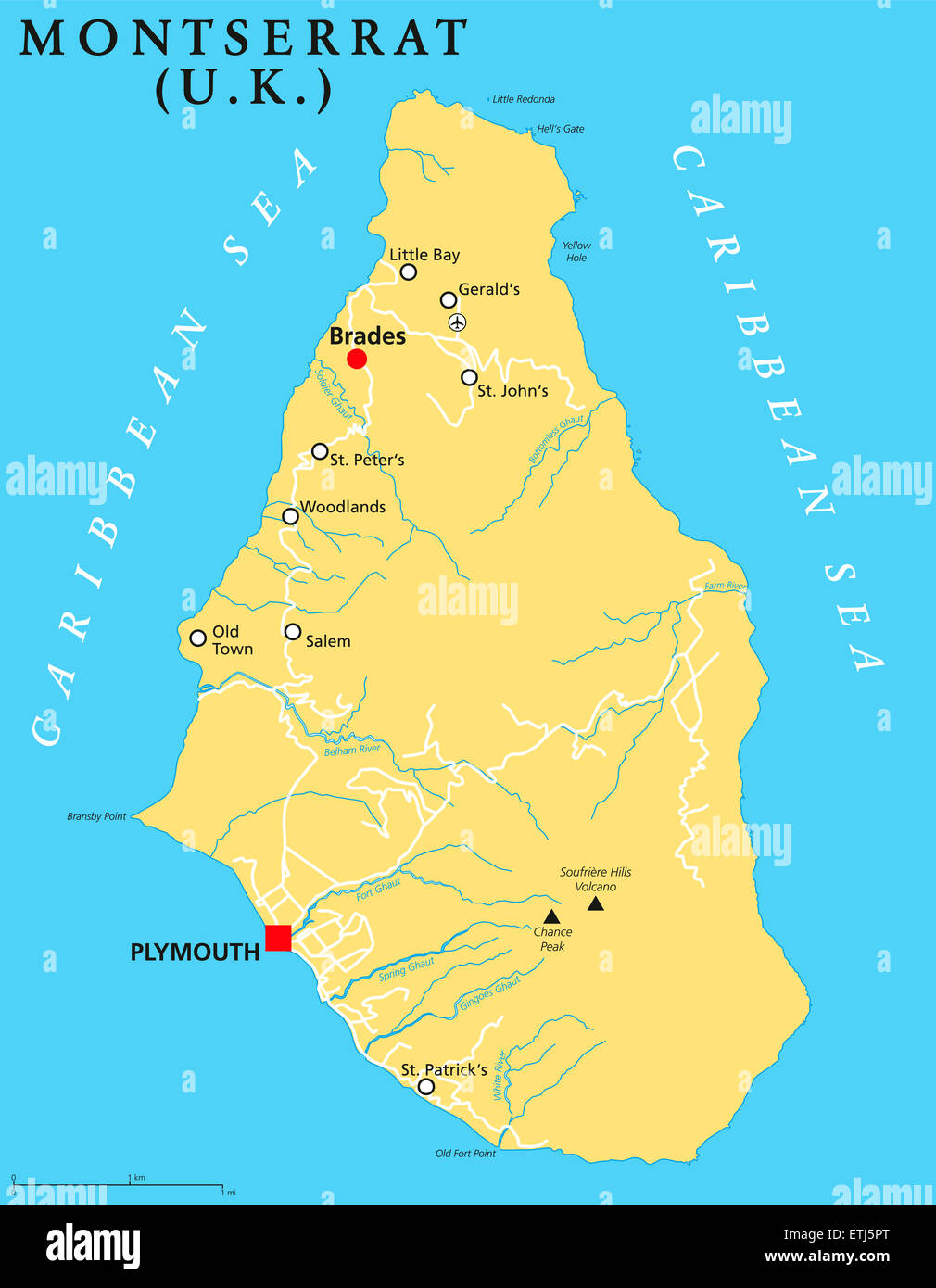 Montserrat Political Map with capital Plymouth, important ... on