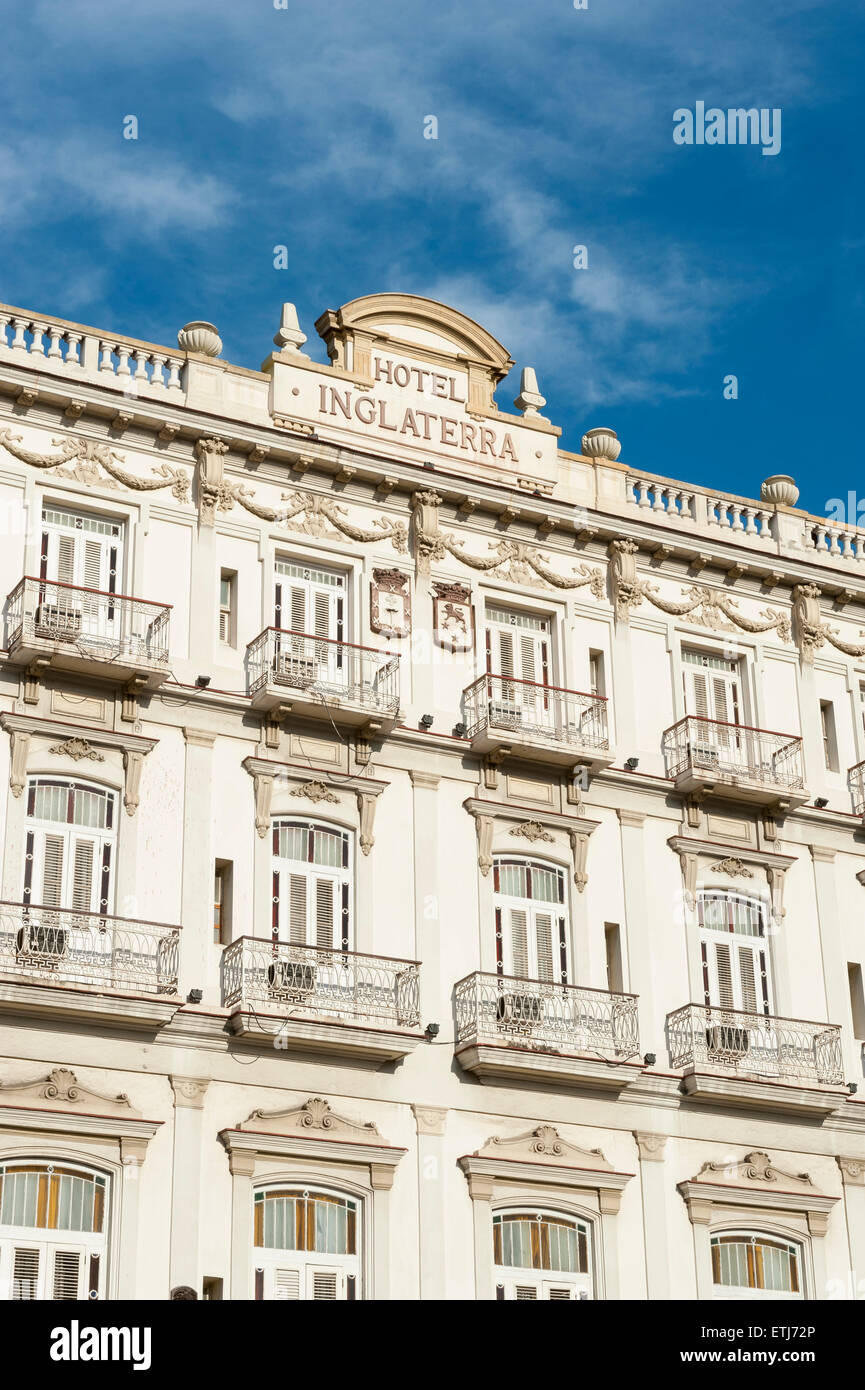 HAVANA, CUBA - JUNE 13, 2011: Traditional colonial neoclassical architecture of the Hotel Inglaterra, a city landmark. - Stock Image