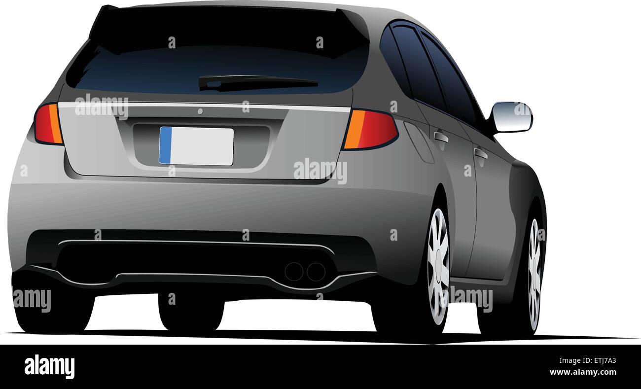 Rear side of gray car sedan on the road. Vector illustration - Stock Vector
