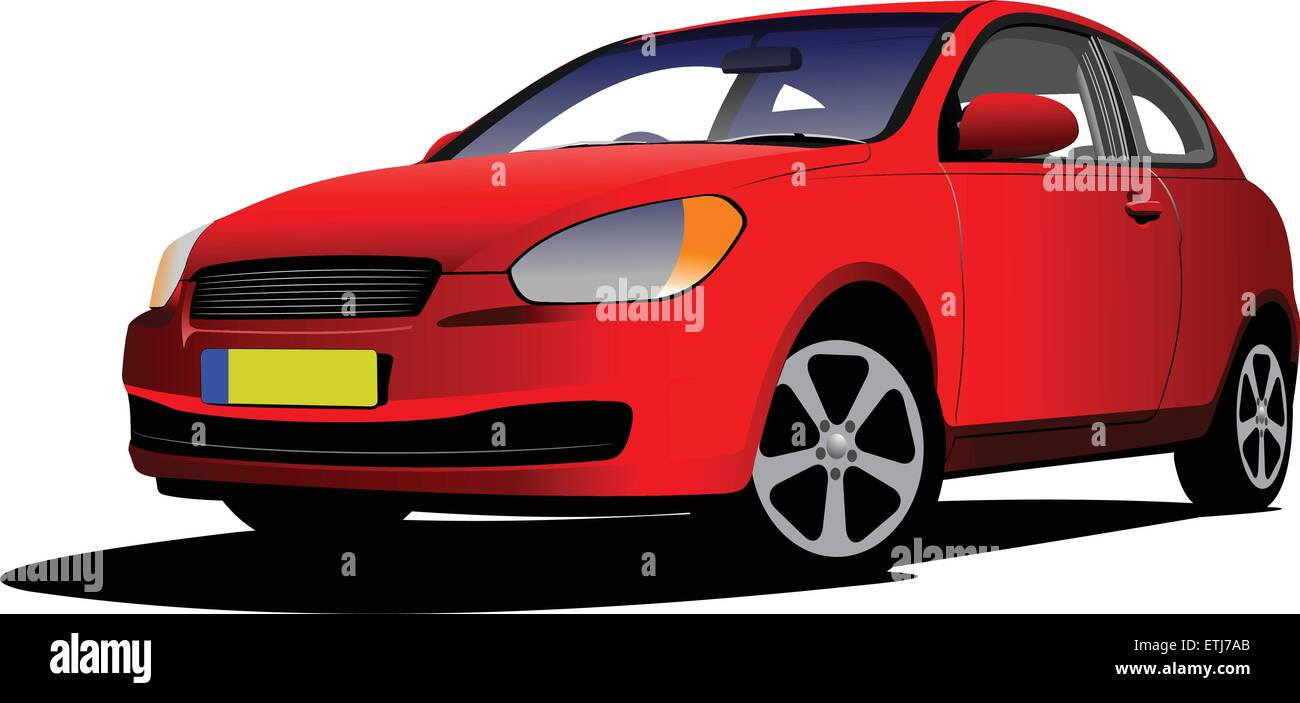 Red car sedan on the road. Vector illustration - Stock Image