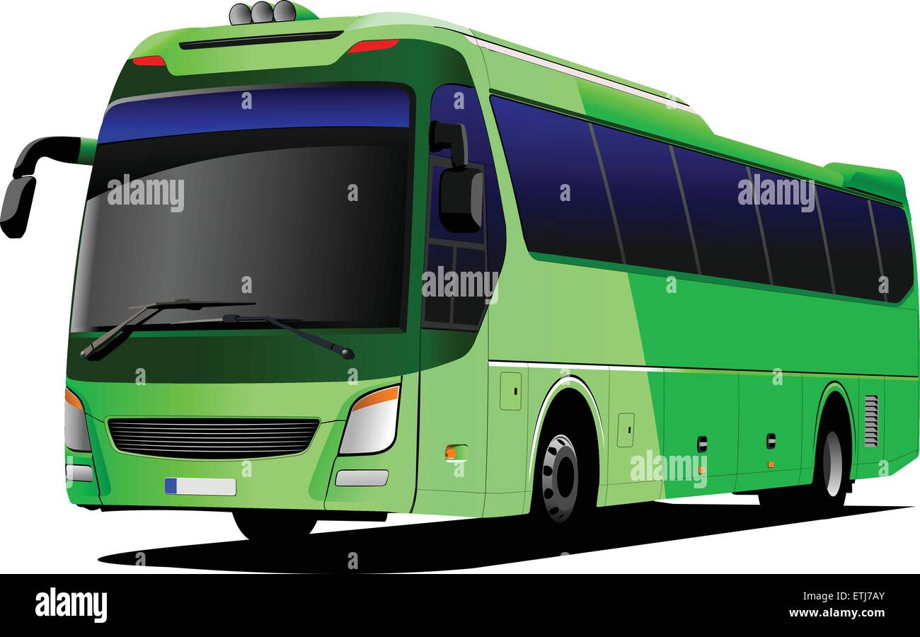 Green tourist bus. Coach. Vector illustration - Stock Image