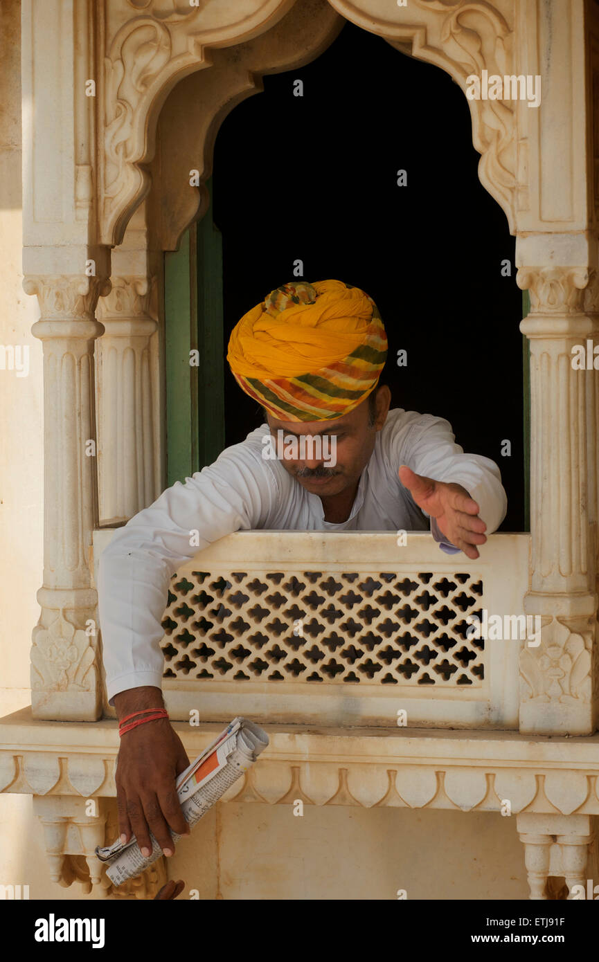 Site guardian at  the Jaswant Thada mausoleum, Jodhpur, Rajasthan, India - Stock Image